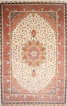 Persian Tabriz Beige Rectangle 13x20 ft and Larger Wool Carpet 30302