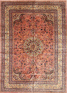 Chinese Tabriz Blue Rectangle 10x14 ft Wool Carpet 30306
