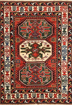 "Kazak Red Hand Knotted 6'9"" X 9'6""  Area Rug 255-30318"