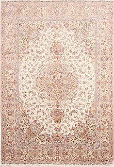 Persian Tabriz Green Rectangle 8x11 ft Wool Carpet 30331