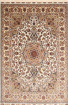 Persian Tabriz Beige Rectangle 8x11 ft Wool Carpet 30333
