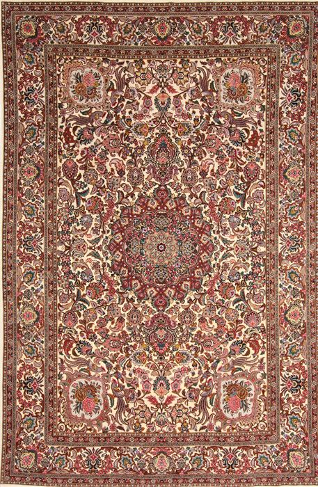 Persian Tabriz Brown Rectangle 6x9 Ft Wool Carpet 30356