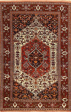 "Ghoochan Brown Hand Knotted 4'3"" X 6'3""  Area Rug 255-30385"
