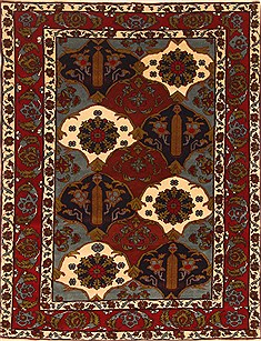 Persian Ghoochan Multicolor Rectangle 4x6 ft Wool Carpet 30387