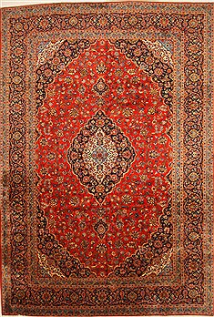 Persian Kashan Red Rectangle 11x16 ft Wool Carpet 30407