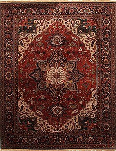 "Agra Red Hand Knotted 11'1"" X 15'3""  Area Rug 250-30434"