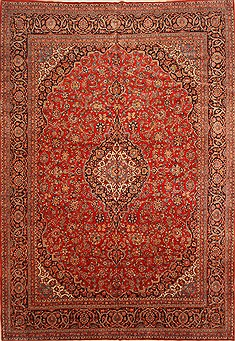 Persian Kashan Red Rectangle 11x16 ft Wool Carpet 30437