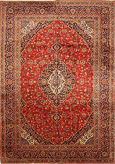 Persian Kashan Red Rectangle 11x16 ft Wool Carpet 30461