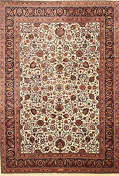 Persian Mashad Beige Rectangle 11x16 ft Wool Carpet 30468
