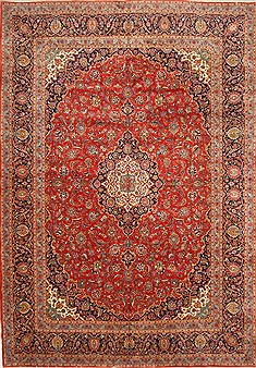 Persian Kashan Red Rectangle 11x16 ft Wool Carpet 30476