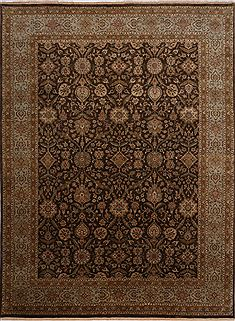 Indian Jaipur Brown Rectangle 9x12 ft Wool Carpet 30491