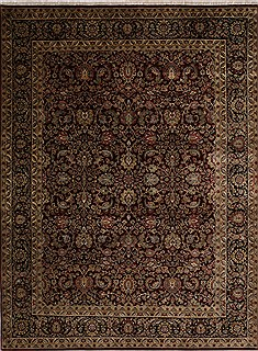 Indian Jaipur Red Rectangle 9x12 ft Wool Carpet 30494