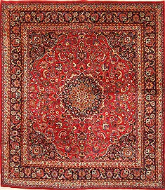 "Khorasan Red Square Hand Knotted 11'8"" X 13'1""  Area Rug 250-30496"