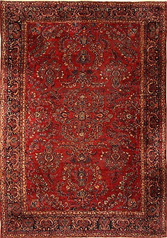 Persian Sarouk Red Rectangle 11x16 ft Wool Carpet 30501