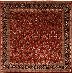 Indian Kashmir Green Square 9 ft and Larger Wool Carpet 30504