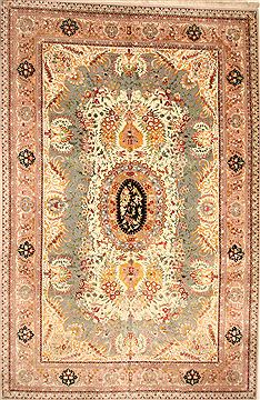 Chinese Tabriz Green Rectangle 12x18 ft Wool Carpet 30505