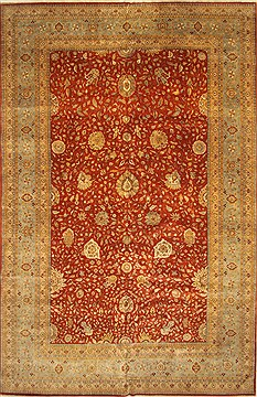 Indian Haji Jalili Beige Rectangle 13x20 ft and Larger Wool Carpet 30524