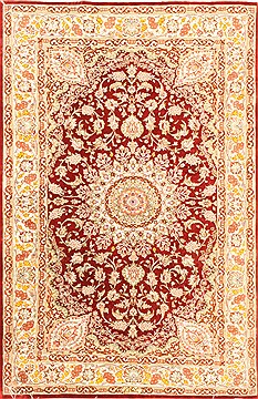 "Qum Red Hand Knotted 3'3"" X 5'0""  Area Rug 255-30540"