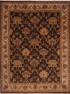 Indian Jaipur Brown Rectangle 9x12 ft Wool Carpet 30557