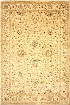 Indian Ziegler Beige Rectangle 12x18 ft Wool Carpet 30559