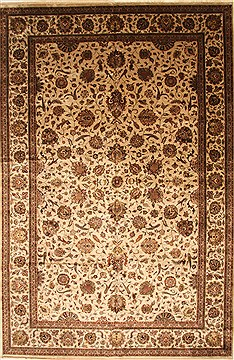 Indian Kashan Beige Rectangle 12x18 ft Wool Carpet 30586