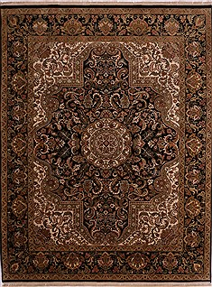 "Jaipur Black Hand Knotted 9'1"" X 11'11""  Area Rug 301-30593"