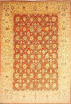 Pakistani Pishavar Orange Rectangle 12x18 ft Wool Carpet 30596
