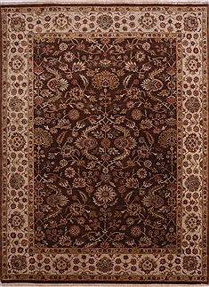 Indian Jaipur Brown Rectangle 9x12 ft Wool Carpet 30607