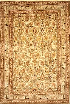 Indian Pishavar Beige Rectangle 12x18 ft Wool Carpet 30633