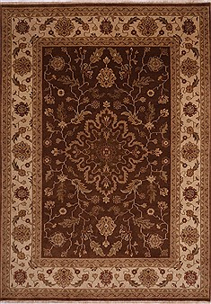Indian Jaipur Brown Rectangle 9x12 ft Wool Carpet 30671
