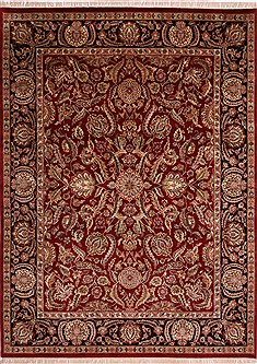 Indian Jaipur Red Rectangle 9x12 ft Wool Carpet 30703