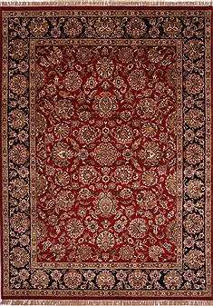 Indian Jaipur Red Rectangle 9x12 ft Wool Carpet 30709