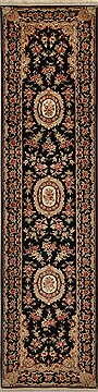 "Kashan Black Runner Hand Knotted 2'3"" X 10'0""  Area Rug 276-30731"