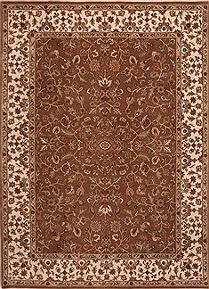 Indian Jaipur Brown Rectangle 9x12 ft Wool Carpet 30735