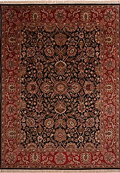"Jaipur Black Hand Knotted 8'10"" X 12'2""  Area Rug 301-30749"