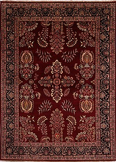 "Sarouk Red Hand Knotted 8'10"" X 12'1""  Area Rug 301-30755"