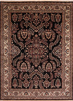 "Sarouk Black Hand Knotted 8'11"" X 11'10""  Area Rug 301-30761"