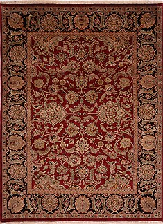 Indian Jaipur Red Rectangle 9x12 ft Wool Carpet 30764