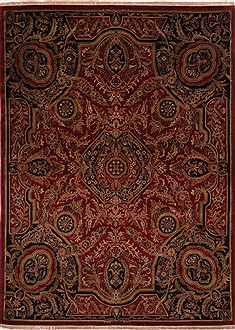 Indian Jaipur Red Rectangle 9x12 ft Wool Carpet 30771