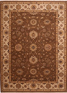 Indian Jaipur Brown Rectangle 9x12 ft Wool Carpet 30781