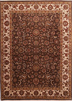 Indian Jaipur Brown Rectangle 9x12 ft Wool Carpet 30798
