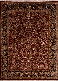 Indian Jaipur Red Rectangle 9x12 ft Wool Carpet 30808