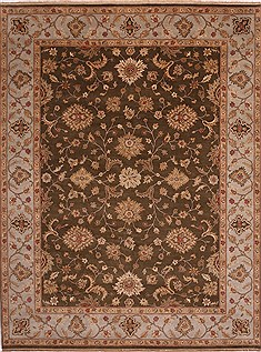 Indian Jaipur Brown Rectangle 9x12 ft Wool Carpet 30812