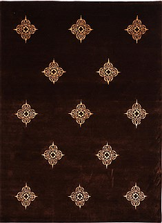 Indian Indo-Tibetan Brown Rectangle 9x12 ft Wool Carpet 30826