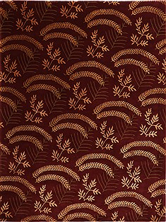 "Indo-Tibetan Red Hand Knotted 9'4"" X 12'3""  Area Rug 301-30831"