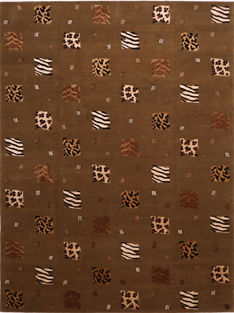 Indian Indo Tibetan Green Rectangle 9x12 Ft Wool Carpet