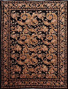 Indian Indo-Tibetan Black Rectangle 9x12 ft Wool Carpet 30838