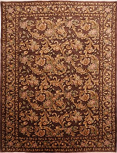 Indian Indo-Tibetan Brown Rectangle 9x12 ft Wool Carpet 30841