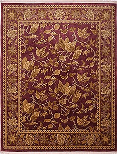 "Indo-Tibetan Red Hand Knotted 9'3"" X 12'1""  Area Rug 301-30846"
