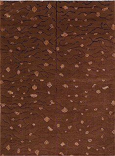Indian Indo-Tibetan Brown Rectangle 9x12 ft Wool Carpet 30851